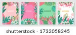 vector set floral background ...   Shutterstock .eps vector #1732058245