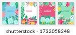 vector set floral background ... | Shutterstock .eps vector #1732058248