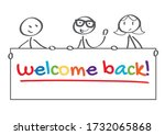 three people holding banner... | Shutterstock .eps vector #1732065868
