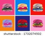 set burger illustration pop art ...
