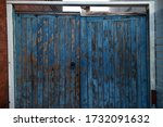 An Old  Blue Wooden Gate