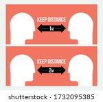 keep distance attention message ... | Shutterstock .eps vector #1732095385