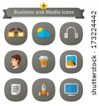 business and media icons. set...