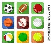 flat sport icons | Shutterstock .eps vector #173224985