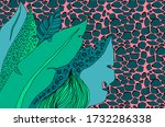 tropical leaves and animal...   Shutterstock . vector #1732286338
