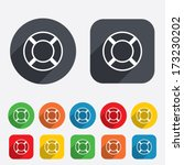 Lifebuoy sign icon. Life salvation symbol. Circles and rounded squares 12 buttons. Vector