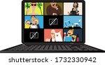 computer screen showing a video ... | Shutterstock .eps vector #1732330942