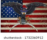 american eagle with usa flags | Shutterstock .eps vector #1732360912