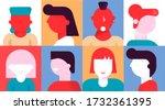 diverse people emotion portrait ...   Shutterstock .eps vector #1732361395