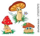 three cartoon merry mushrooms... | Shutterstock .eps vector #173237072