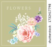 flowers watercolor illustration.... | Shutterstock . vector #1732417798