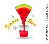 watermelon juice from a slice... | Shutterstock .eps vector #1732612418
