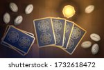 tarot  candle and runes on the... | Shutterstock .eps vector #1732618472