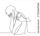 drawing of a crying man  his...   Shutterstock .eps vector #1732669568