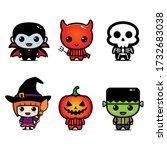set of children in halloween... | Shutterstock .eps vector #1732683038