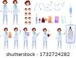 woman doctor in white uniform... | Shutterstock .eps vector #1732724282