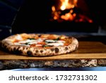Rustic Wooden Table With Pizza...