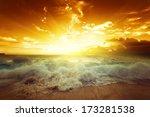 sunset on seychelles beach | Shutterstock . vector #173281538