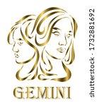 golden line vector logo of twin ...   Shutterstock .eps vector #1732881692