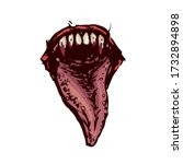 scary fanged monster jaws... | Shutterstock .eps vector #1732894898