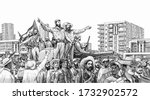 Small photo of Fidel Castro (Fidel Alejandro Castro Ruz) with rebel soldiers entering Havana on 8th of January 1959, Portrait from Cuba Banknotes.