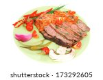 corned beef on plate with... | Shutterstock . vector #173292605