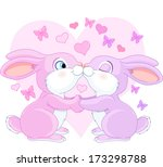 two valentine rabbits in love | Shutterstock .eps vector #173298788