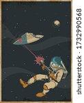 astronaut with laser gun  ufo...   Shutterstock .eps vector #1732990568