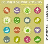 set of icons on fitness. simply ... | Shutterstock .eps vector #1733012288