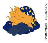 cute  sun in caps is sleeping... | Shutterstock . vector #1733024372