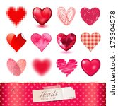 vector hearts collection   12... | Shutterstock .eps vector #173304578