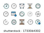 time and clock color vector...