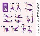 home workout set. set of sport... | Shutterstock .eps vector #1733064605