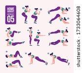 home workout set. set of sport... | Shutterstock .eps vector #1733064608