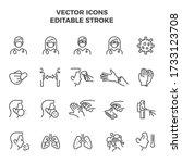 coronavirus icon set linear... | Shutterstock .eps vector #1733123708