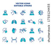 coronavirus icon set linear... | Shutterstock .eps vector #1733124455