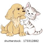 Stock vector cat and dog greeting card for valentines day 173312882