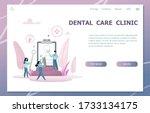 dental care landing page.... | Shutterstock .eps vector #1733134175