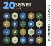 modern flat design server icons ...