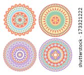 colorful circle indian pattern... | Shutterstock .eps vector #173321222