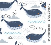 happy whales  hand drawn... | Shutterstock .eps vector #1733264642