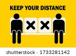 keep distance sign. people... | Shutterstock .eps vector #1733281142