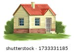 old house vector. isolated on a ... | Shutterstock .eps vector #1733331185