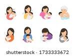 mom take care baby cartoon... | Shutterstock .eps vector #1733333672