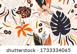 hand drawn abstract jungle... | Shutterstock .eps vector #1733334065