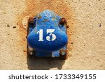 Blue Rusty Boat Mooring With A...