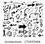 vector hand drawn arrows icons set on white | Shutterstock vector #173335406