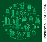 Cactus Icons In A Flat Style On ...