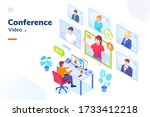 video conference internet... | Shutterstock .eps vector #1733412218