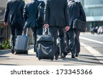 a group of businessmen pulling... | Shutterstock . vector #173345366